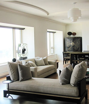Chicago Interior Designer; Living Room Design, Michigan Avenue Condo,  Custom Furniture, Space